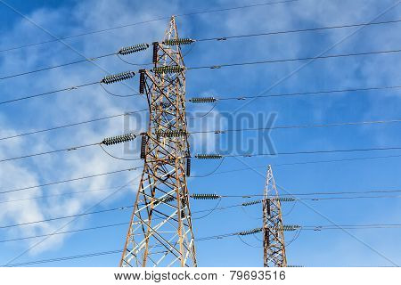 Close Up Of Power Poles In Kozani, Greece.