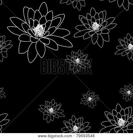 Monochrome magnolia flowers. Black and white seamless pattern.