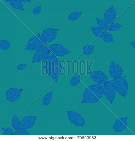 Green and blue  raspberry leaves. Seamless pattern.