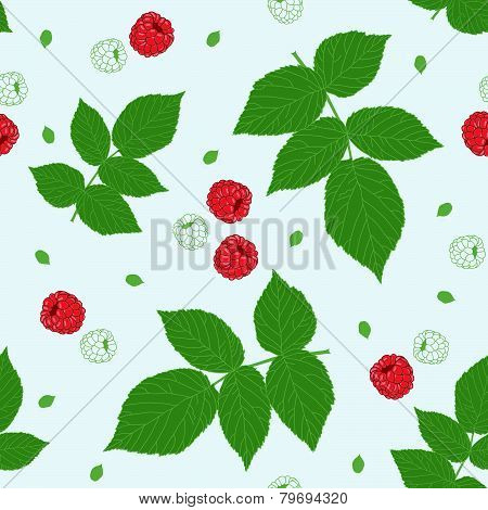 Seamless pattern with raspberries and green raspberry leaves on a white field.