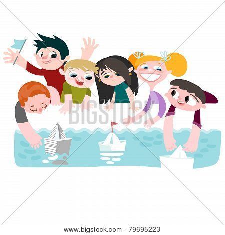 Children and boats