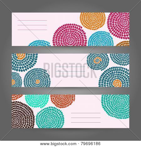 Set of Light Horizontal Banners. Abstract African ornament. Vector Illustration.