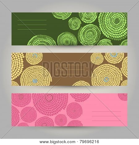 Set of Colorful Horizontal Banners. Abstract African ornament. Vector Illustration.