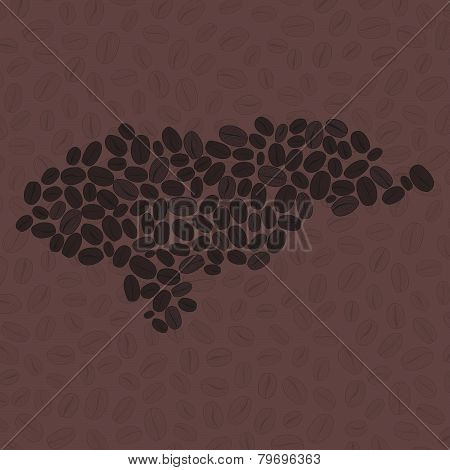 Honduras map made of roasted coffee beans. Vector illustration.
