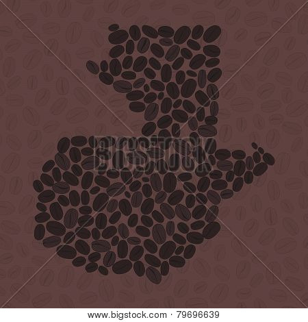 Guatemala map made of roasted coffee beans. Vector illustration.
