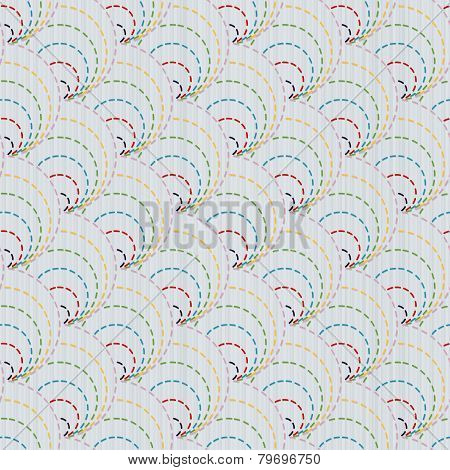 Traditional Japanese Embroidery Ornament with circles. Sashiko. Vector seamless pattern.
