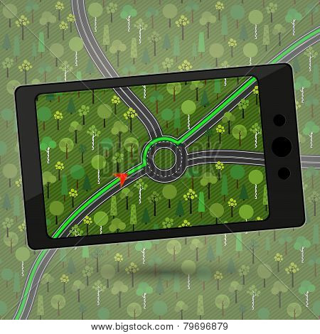 Device with GPS module. Smartphone with GPS navigation. Vector illustration.