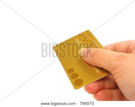 Hand holding credit card (clipping path included)