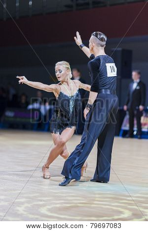 Belarussian dance couple of Kosyakov Egor and Belmach Anastasiya performs Adult Latin-American progr