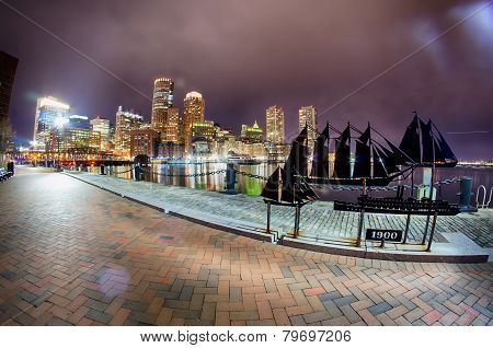 at the Boston harbor and theFinancial District