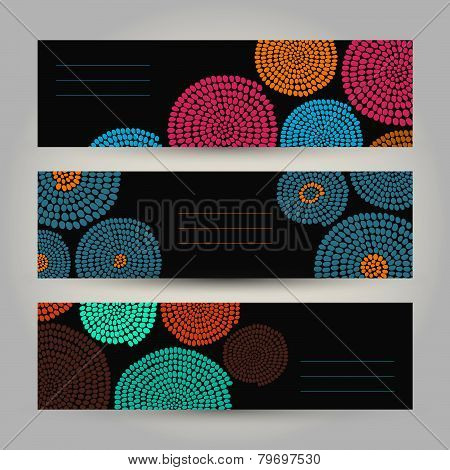 Set of Contrast Horizontal Banners. Abstract African ornament. Vector Illustration.