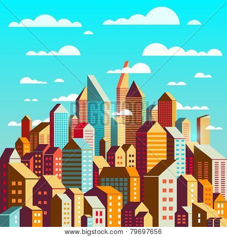 Colorful City At Daylight