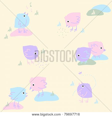 Seamless Pattern with Eating Singing and Dreaming Birds on a Light Background.