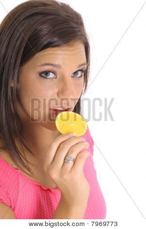 Modell Essen ein orange slice