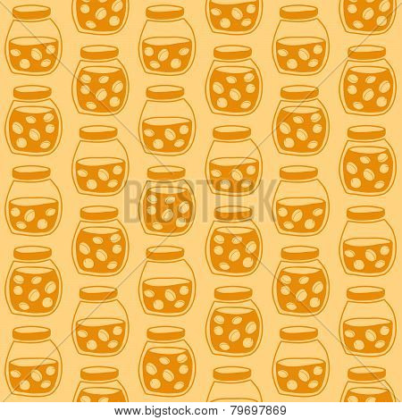 Bright seamless pattern with the apricot jam jars.