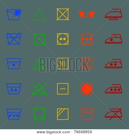 Fabric Care Sign And Symbol Color Icons