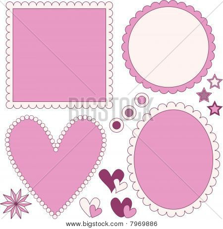 Romantic vector label or frame collection, stars and hearts