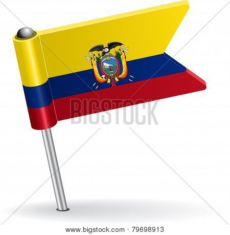 Ecuadorian pin icon flag. Vector illustration