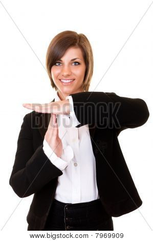Woman Showing Time Out