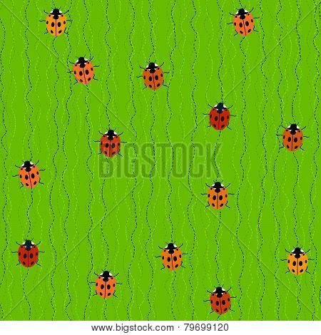 Seamless Pattern with Crawling Ladybugs and Ladybirds