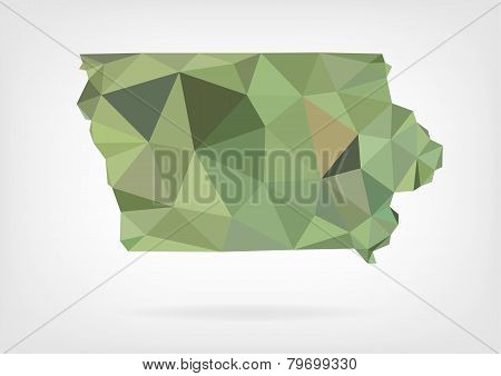 Low Poly map of Iowa state
