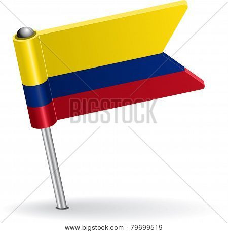 Colombia pin icon flag. Vector illustration