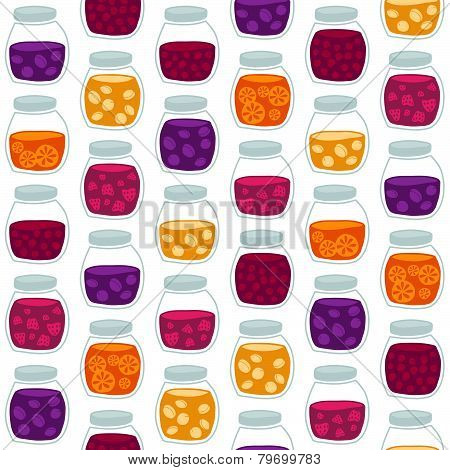 Fun seamless pattern with the colorful fruit jam jars.