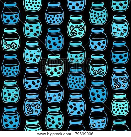 Plain seamless pattern with the fruit jam jars on a black background.