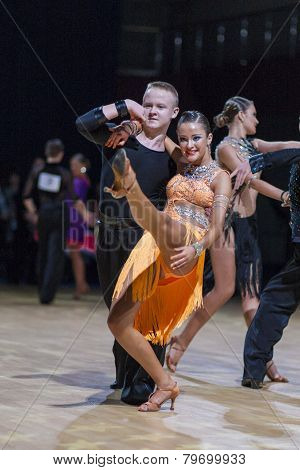Professional belarussian dance couple of Kuzmenkov Dmitry and Kazakevich Alina performs Youth-2 Lati