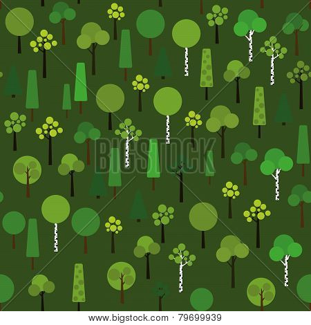 Seamless pattern with geometric trees on a dark green background.