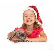 foto of rabbit year  - Child in the New Year hat with a rabbit - JPG