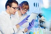 pic of scientist  - Attractive young female research scientist and her post doctoral male supervisor looking focused at the tablet in the life science laboratory - JPG