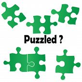 picture of time-piece  - Concept Of Confusion With Green Puzzle Pieces - JPG