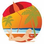 stock photo of x-rated  - Tasteful silhouette of nude woman sunbathing on tropical island - JPG