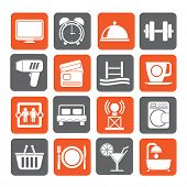 pic of motel  - Silhouette Hotel and Motel facilities icons  - JPG