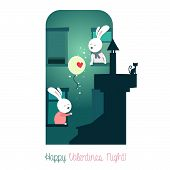 picture of fireflies  - Cute bunnies with balloon - JPG
