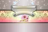 pic of ring-dove  - Decorative floral wedding background with gold rings and scroll of parchment - JPG