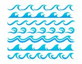 image of marines  - Blue ocean waves set curling and breaking with swirls and in undulating patterns for marine or nautical themed concepts vector illustration isolated on white - JPG