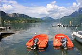 image of annecy  - boats moored on Lake Annecy in France - JPG
