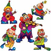 stock photo of music instrument  - Funny clowns with musical instrument - JPG