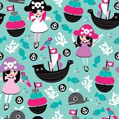 image of pirate sword  - Seamless princess pirate coral fish and little cute whale illustration background pattern in vector - JPG