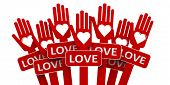 foto of word charity  - Happy red hands with heart and word love three - JPG