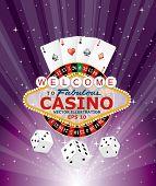 stock photo of las vegas casino  - purple burst with casino gambling icons - JPG