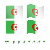 stock photo of algiers  - Set of flags of Algeria eps 10 - JPG