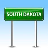 stock photo of south-pole  - Illustration of South Dakota green metal road sign - JPG