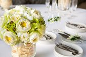 image of pergola  - Floral arrangement at a wedding ceremony on the beach - JPG