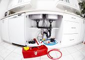 picture of plumbing  - Plumber tools on the kitchen - JPG