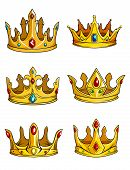 picture of crown jewels  - Six golden royal crowns - JPG