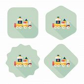 foto of cylinder pyramid  - Train Toy Flat Icon With Long Shadow - JPG