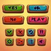 image of oblong  - Set of cartoon wooden buttons - JPG